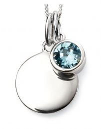 Birthstone And Engravable Silver Disc Necklace - March